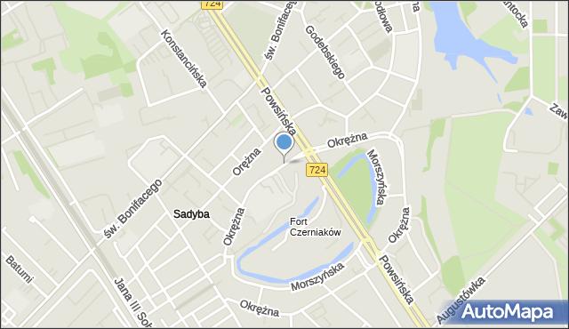 Warszawa, Okrężna, mapa Warszawy