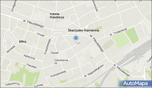 Skarżysko-Kamienna, Orkana Władysława, mapa Skarżysko-Kamienna