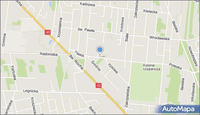 Częstochowa, Pawia, mapa Częstochowy