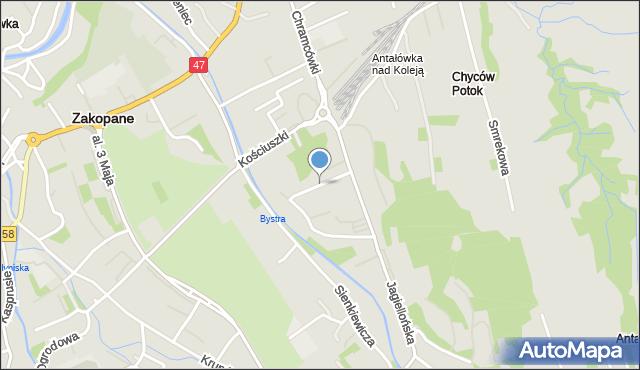 Zakopane, Piaseckiego, mapa Zakopanego