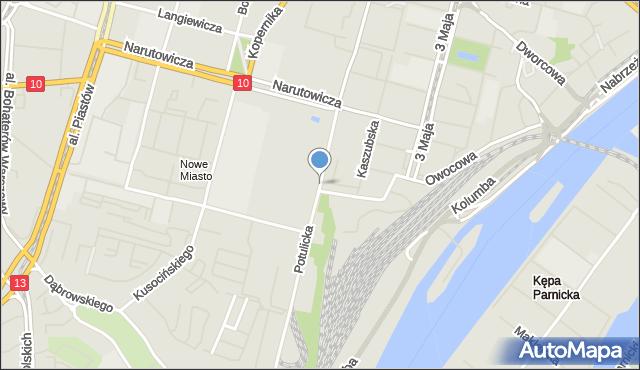 Szczecin, Potulicka, mapa Szczecina