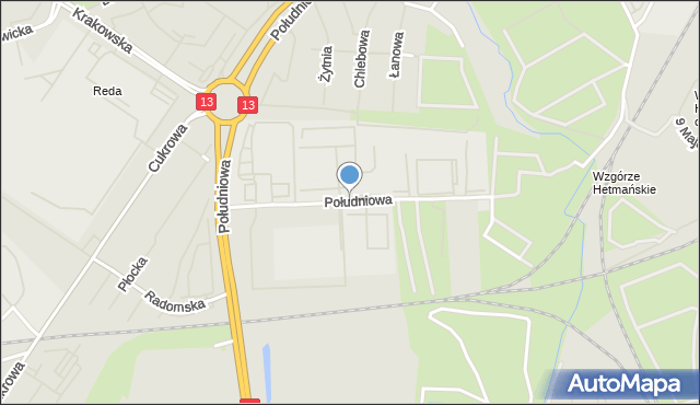 Szczecin, Południowa, mapa Szczecina