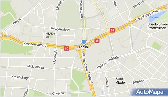 Toruń, Rondo Niepodległości, mapa Torunia
