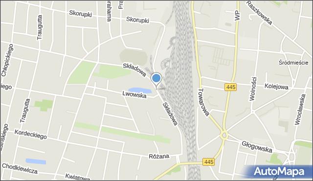 Ostrów Wielkopolski, Składowa, mapa Ostrów Wielkopolski