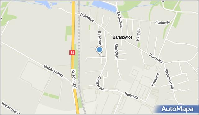 Żory, Strażacka, mapa Żor