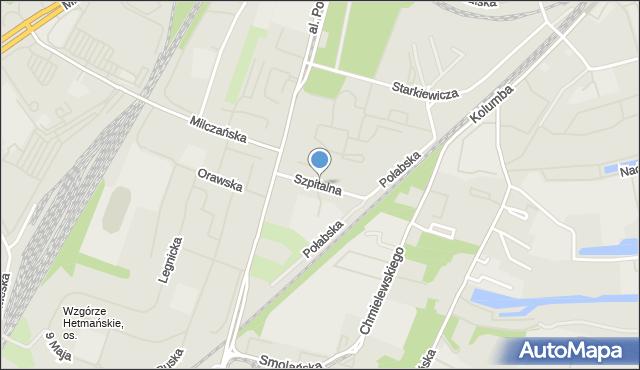 Szczecin, Szpitalna, mapa Szczecina