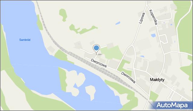 Małdyty, Topolowa, mapa Małdyty