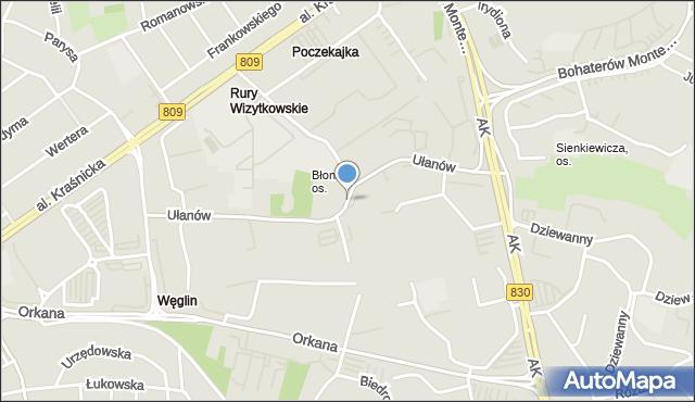 Lublin, Ułanów, mapa Lublina