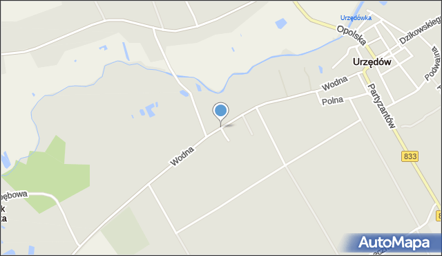 Urzędów, Wodna, mapa Urzędów