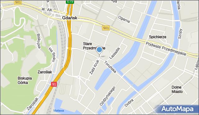 Gdańsk, Żabi Kruk, mapa Gdańska