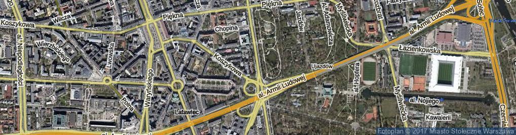 Zdjęcie satelitarne Aleje Ujazdowskie al.