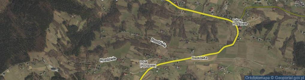 Zdjęcie satelitarne Rozdziele ul.