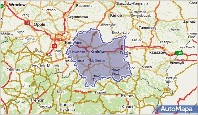 wojewodztwo małopolskie na mapie Targeo
