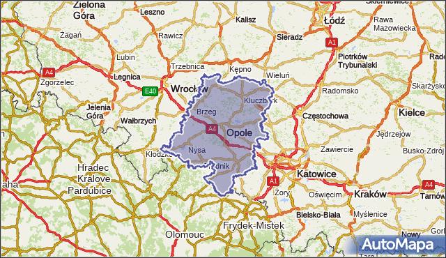 wojewodztwo opolskie na mapie Targeo